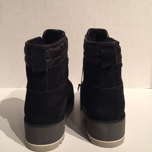 UGG Shoes - Ugg Birch WP Black Suede Wool Laceup Wedge Boot